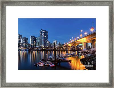 Cambie Street Bridge Twilight Framed Print by Victor Andre