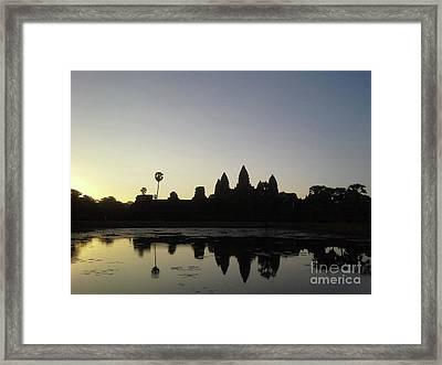 Cambodia Angkor Wat Classic Angkor Wat  Silhouette And Reflection At Sunrise Framed Print