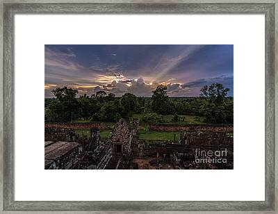 Cambodia Temple Ruins Sunset Framed Print by Mike Reid