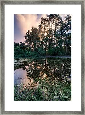 Cambodian Backwater Cloudscape Framed Print by Mike Reid