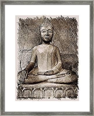 Cambodian Buddha - Sketch Framed Print by Fini Gamundi