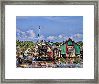 Cambodian Fishing Scene Framed Print