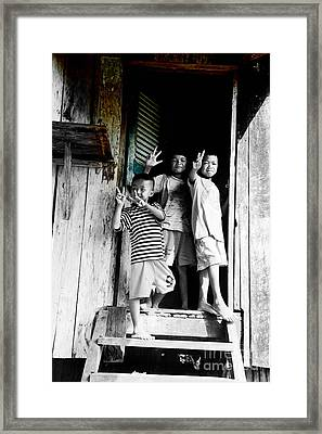 Cambodian Kids At The Entrance To The Barrack Framed Print by Mirko Dabic