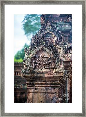 Cambodian Temple Details Banteay Srey Framed Print by Mike Reid
