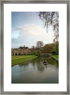 Cambridge Clare College Stream And Boat Framed Print by Douglas Barnett