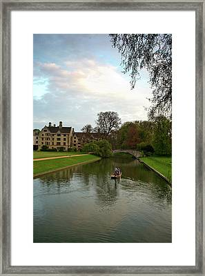 Cambridge Clare College Stream Boat And Boys Framed Print by Douglas Barnett