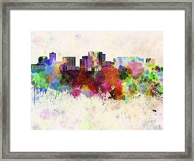 Cambridge Ma Skyline In Watercolor Background Framed Print by Pablo Romero