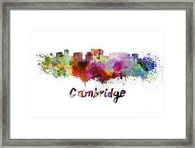 Cambridge Ma Skyline In Watercolor Framed Print by Pablo Romero
