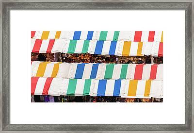 Cambridge Market Stripes Framed Print by David Warrington