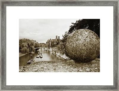 Cambridge Punting Sepia Framed Print by Eden Baed