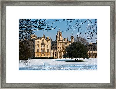 Cambridge Snowscape Framed Print by Andrew  Michael