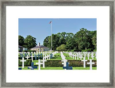 Framed Print featuring the photograph Cambridge England American Cemetery by Alan Toepfer
