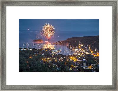 Camden Fireworks From Mount Battie Framed Print