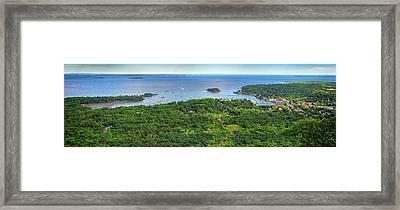 Camden Harbor From The Summit Of Mount Battie Framed Print