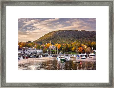 Camden Harbor In The Fall Framed Print by Benjamin Williamson