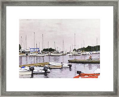 Camden Maine Marina Framed Print by Thomas Michael Meddaugh