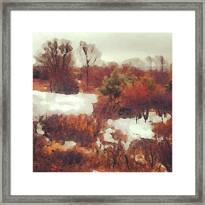Framed Print featuring the digital art Came An Early Snow by Shelli Fitzpatrick