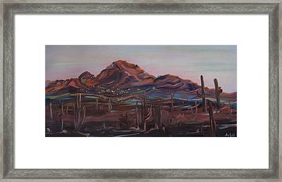 Framed Print featuring the painting Camelback Mountain by Julie Todd-Cundiff