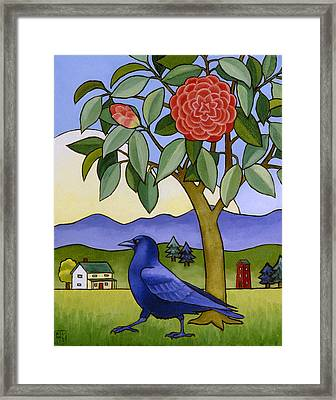 Camellia And Crow Framed Print