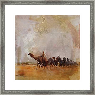 Camels And Desert 15 Framed Print