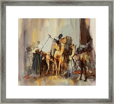 Camels And Desert 21 Framed Print