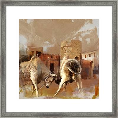 Camels And Desert 22 Framed Print