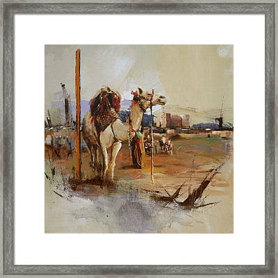 Camels And Desert 25 Framed Print