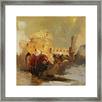 Camels And Desert 33 Framed Print