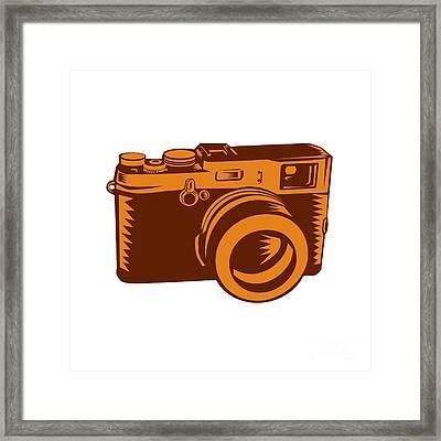 Camera 35mm Vintage Woodcut Framed Print by Aloysius Patrimonio
