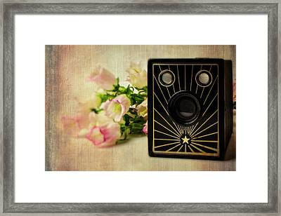 Camera And Campanula Flowers Framed Print