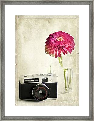 Camera And Flowers Framed Print by Darren Fisher