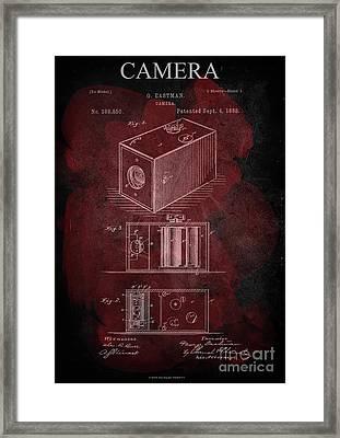 Camera - G.eastman Kodak. Patent 1888  -part 1  -red. Framed Print