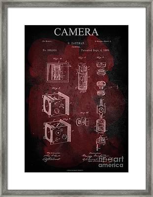 Camera - G.eastman Kodak. Patent 1888  -part 2  -red. Framed Print