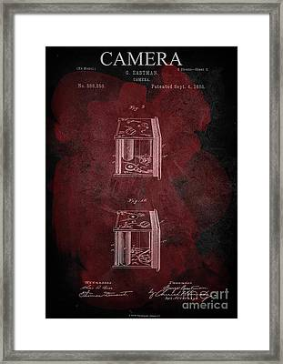 Camera - G.eastman Kodak. Patent 1888  -part 3  -red. Framed Print
