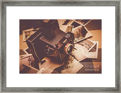 Cameras And Scattered Photos Framed Print