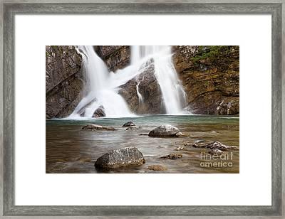 Cameron Falls In Waterton Lakes National Park Framed Print
