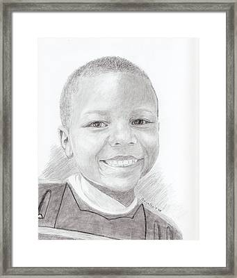 Framed Print featuring the drawing Cameron by Quwatha Valentine