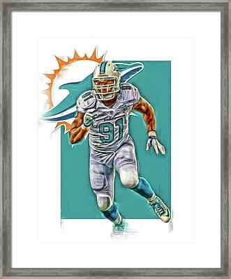 Cameron Wake Miami Dolphins Oil Art Framed Print