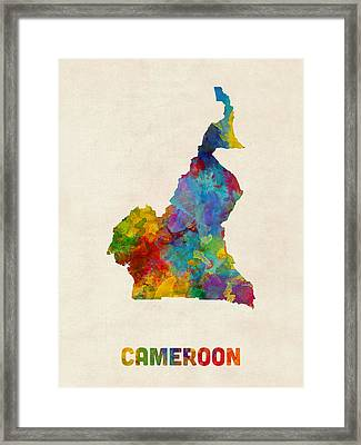 Framed Print featuring the digital art Cameroon Watercolor Map by Michael Tompsett