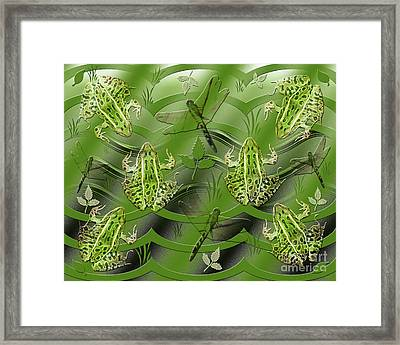 Camo Frog Dragonfly Framed Print