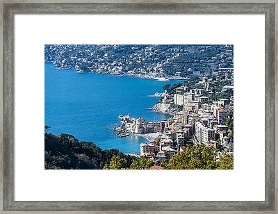 Camogli And Paradise Coast From Portofino Mount View Framed Print by Enrico Pelos