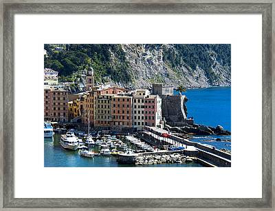Camogli Harbour And Buildings View Framed Print by Enrico Pelos