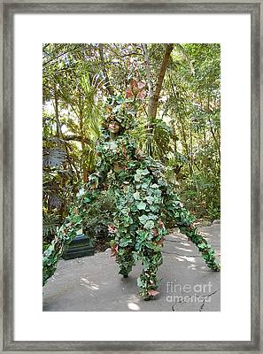 Camouflaged Tree Street Performer Animal Kingdom Walt Disney World Prints Framed Print by Shawn O'Brien
