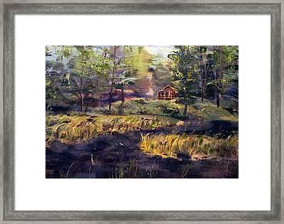 Camp At Efner Lake Brook Framed Print by Denny Morreale