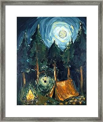 Framed Print featuring the painting Camp At Night by Maria Langgle