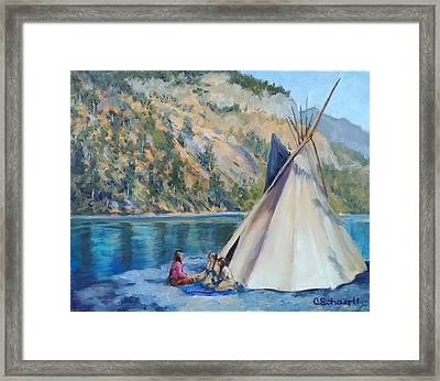 Camp By The Lake Framed Print by Connie Schaertl