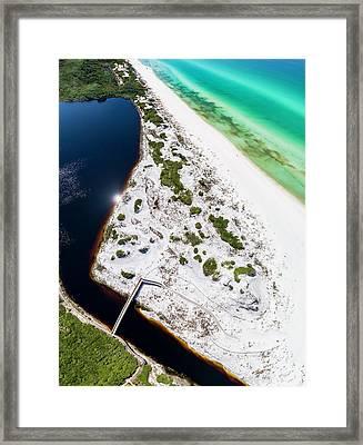 Camp Creek Lake On The Gulf Aerial Framed Print