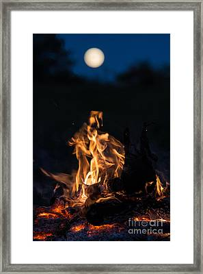 Camp Fire And Full Moon Framed Print by Cheryl Baxter