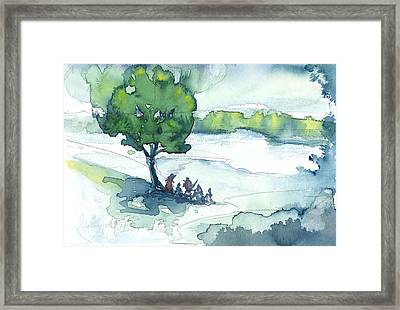 Camp On The Lake Framed Print by Don  Vella