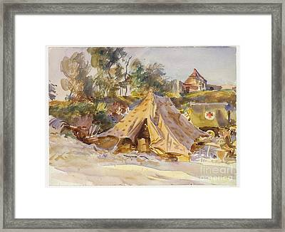 Camp With Ambulance Framed Print by Celestial Images